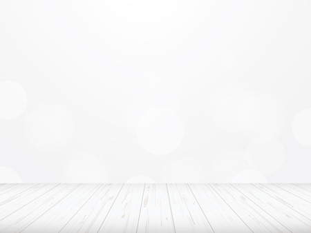 Wood floor perspective with light blurred bokeh background used for montage or display product. Vector illustration.