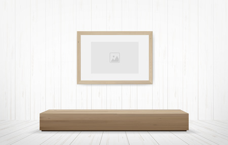 Picture frame and wooden bench in white room space background. Vector illustration.