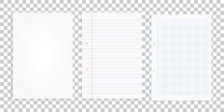 Set of white paper sheets on transparent background. Office supply object for business background. Vector illustration. 矢量图像