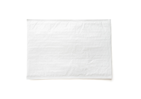 White postal package. Plastic parcel object background for online shopping advertising. Object isolated on white background with clipping path.