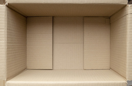 Empty cardboard box. Close up inside view of cardboard packaging box - Image