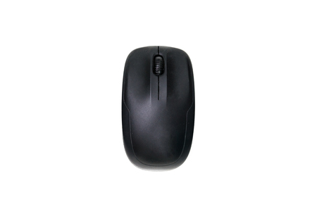 Top view of black computer mouse isolated on white background. Imagens
