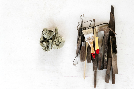 Sculpture tools set background. Art and craft tools on white background. Stock Photo