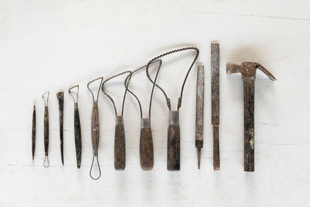 Sculpture tools set. Art and craft tools on white background.