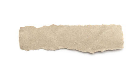 Recycled paper craft stick on a white background. Brown paper torn or ripped pieces of paper isolated on white with clipping path. Archivio Fotografico