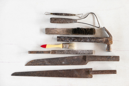 Sculpture tools. Art and craft tools on white background. Banque d'images
