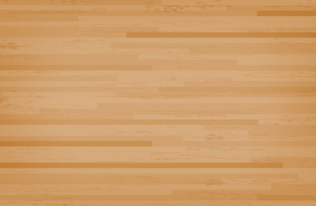 Hardwood maple basketball court floor viewed from above. Wooden floor pattern and texture. Vector illustration. Çizim