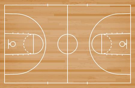 Sol de terrain de basket avec ligne sur fond de texture bois. Terrain de basket. Illustration vectorielle. Vecteurs