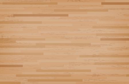 Hardwood maple basketball court floor viewed from above. Wooden floor pattern and texture. Vector illustration. Illustration