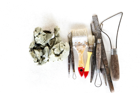 Sculpture tools set background. Art and craft tools on white background. Stockfoto