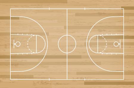 Basketball court floor with line on wood pattern texture background. Basketball field. Vector illustration. Ilustracje wektorowe