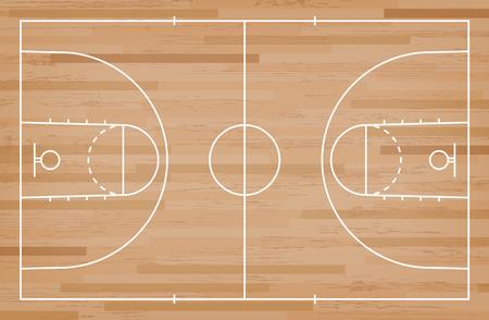 Boisko do koszykówki podłoga z linii na tle tekstury drewna. Boisko do koszykówki. Ilustracja wektorowa.