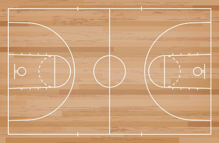 Basketballplatzboden mit Linie auf Holzmusterbeschaffenheitshintergrund Basketball Feld. Vektor-Illustration. Vektorgrafik