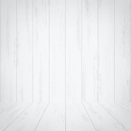 Empty white wooden room space for background. Vector illustration. Ilustração