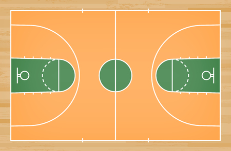 Basketball court floor with line on wood pattern texture background. Basketball field. Vector illustration.