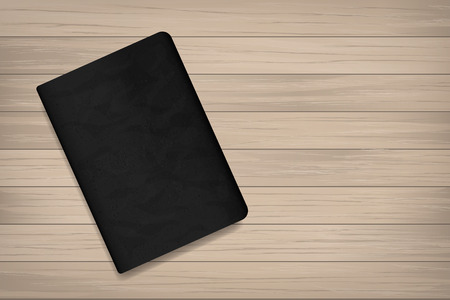 Book with black cover on wood for background. Vector illustration. Illustration