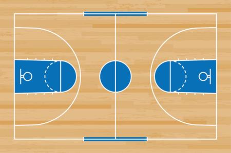 Piso de la cancha de baloncesto con línea sobre fondo de textura de patrón de madera. Campo de baloncesto. Ilustración de vector.
