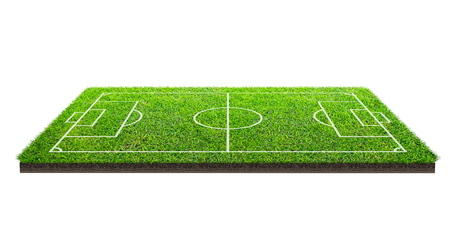 Football field or soccer field on green grass pattern texture isolated on white background with clipping path. Soccer stadium background with line pattern of green lawn. 版權商用圖片