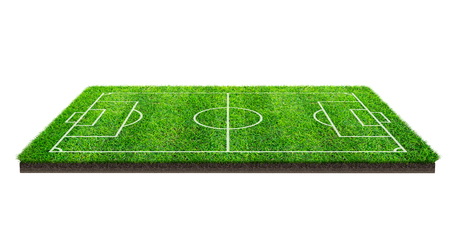 Football field or soccer field on green grass pattern texture isolated on white background with clipping path. Soccer stadium background with line pattern of green lawn. Stockfoto