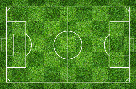 Football field or soccer field for background. Green lawn court for create sport game. Stock Photo