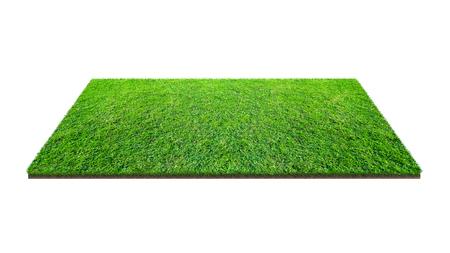 Groen grasveld geïsoleerd op wit met uitknippad. Kunstgras grastapijt voor sport achtergrond. Achtergrond voor landschap, park en buiten.