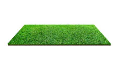 Green grass field isolated on white with clipping path. Artificial lawn grass carpet for sport background. Background for landscape, park and outdoor. 写真素材