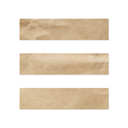 Paper tag set. Close up of a piece of note paper on white background. Piece of newspaper on white with clipping path. 免版税图像