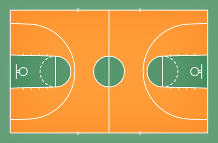 Green basketball court floor with line pattern background. Basketball field. Vector illustration.
