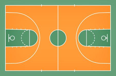 Pavimento verde del campo da pallacanestro con il fondo del modello di linea. Campo da basket. Illustrazione vettoriale. Vettoriali