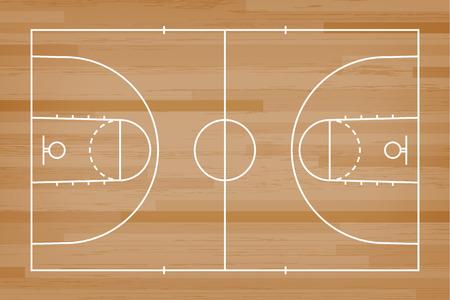 Piso de la cancha de baloncesto con línea sobre fondo de textura de patrón de madera. Campo de baloncesto. Ilustración de vector. Ilustración de vector