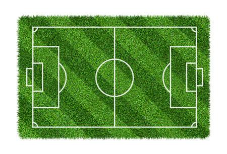 Campo da calcio o campo da calcio sulla trama del modello di erba verde isolato su priorità bassa bianca con il percorso di residuo della potatura meccanica.