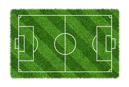 Football field or soccer field on green grass pattern texture isolated on white background with clipping path. 免版税图像