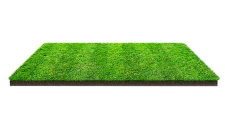Grünes Grasfeld lokalisiert auf Weiß mit Beschneidungspfad. Sportplatz. Mannschaftsspiele im Sommer. Übungs- und Erholungsplatz.