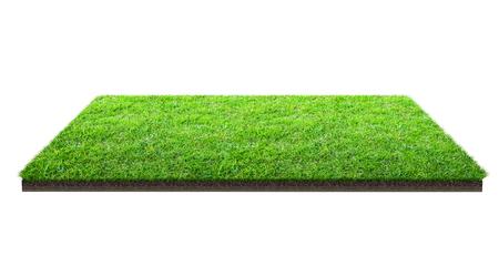 Campo di erba verde isolato su bianco con il percorso di residuo della potatura meccanica. Campo sportivo. Giochi di squadra estivi. Luogo di esercizio e ricreazione. Archivio Fotografico