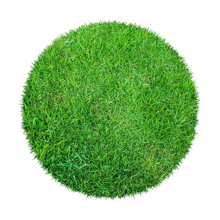 Abstract green grass texture for background. Circle green grass pattern isolated on a white background with clipping path. Banque d'images - 129132364