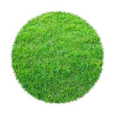 Abstract green grass texture for background. Circle green grass pattern isolated on a white background with clipping path. Banque d'images - 129132379