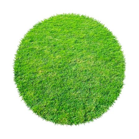 Abstract green grass texture for background. Circle green grass pattern isolated on a white background with clipping path. Banque d'images - 129132381