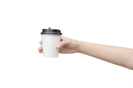Take away coffee cup background. Female hand holding a coffee paper cup isolated on white background Reklamní fotografie - 134728601