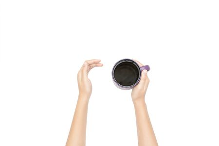 Coffee cup in hand. Isolated on white background