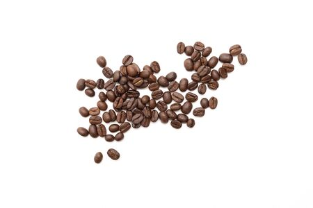 Coffee beans isolated on white background. close up.
