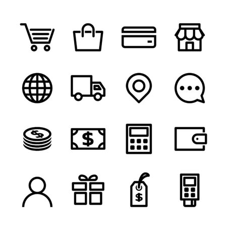 Shopping online icon set. E-commerce web icons in line style. Vector illustration.