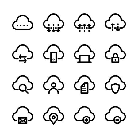 Cloud storage icon set. Cloud computing in line icon style. Vector illustration.