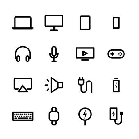 Gadget-Icon-Set. Modernes digitales Gerät im Line-Icon-Set. Vektor-Illustration. Vektorgrafik