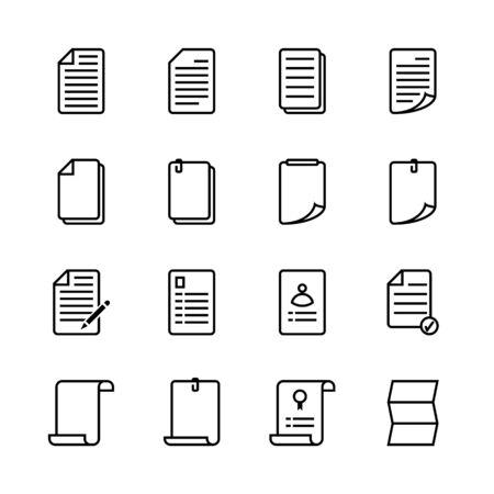 Conjunto de iconos de hoja de papel. Estilo de icono de línea. Ilustración vectorial.