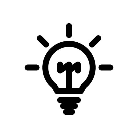 Light bulb icon vector, isolated on white background. Idea design thinking concept. Vector illustration icon.