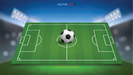 Football field or soccer field background with football ball. Green grass court for create soccer game. Vector illustration