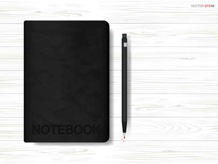 Notebook and pencil on wooden background. Vector illustration.