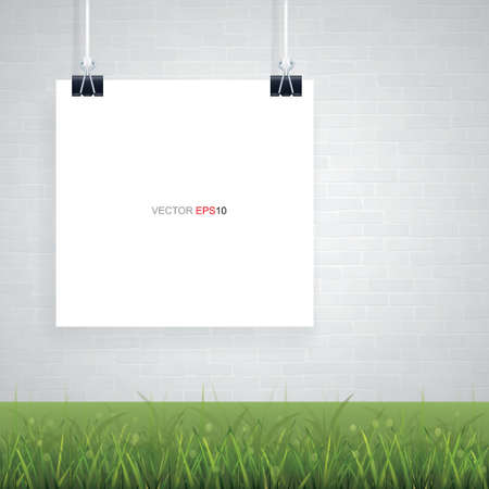 Empty white poster paper with brick wall background and green grass. Vector illustration. 矢量图像