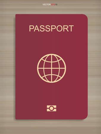 Passport book on wood texture background. Vector illustration.