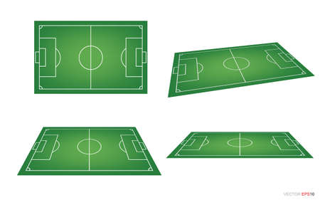 Soccer field or football field background isolated on white. Perspective elements. Vector green court for create soccer game. Vector illustration.